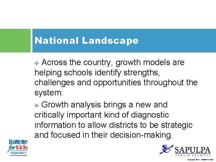 National Landscape Across the country, growth models are helping schools identify strengths, challenges and