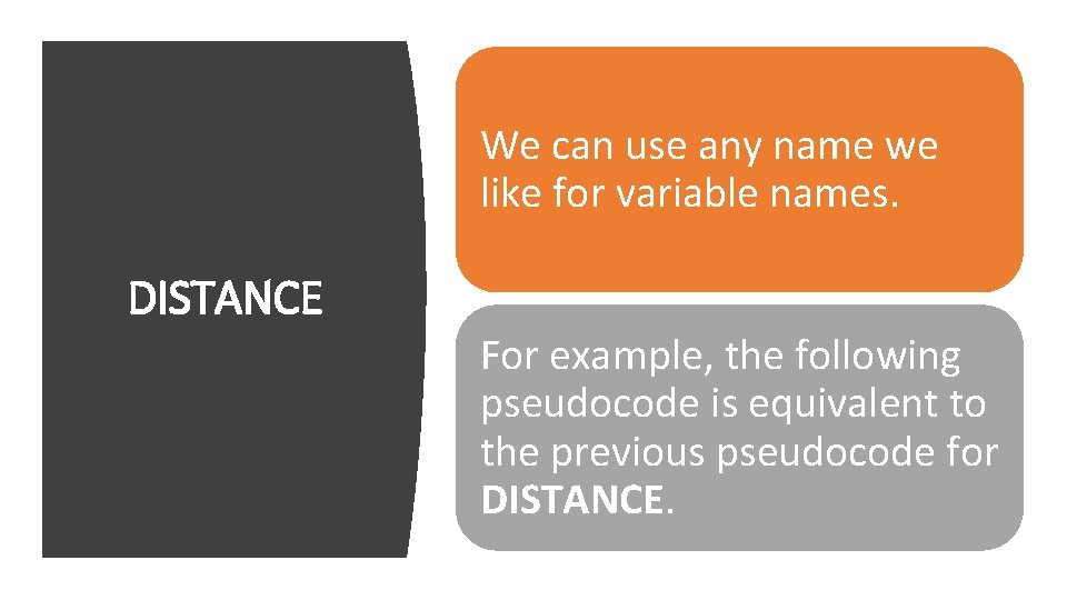 We can use any name we like for variable names. DISTANCE For example, the
