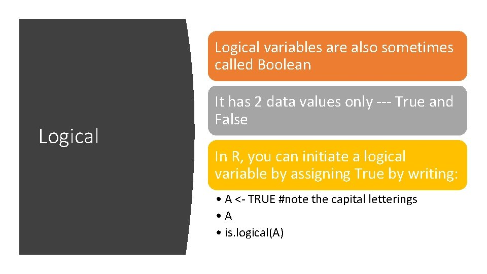 Logical variables are also sometimes called Boolean Logical It has 2 data values only