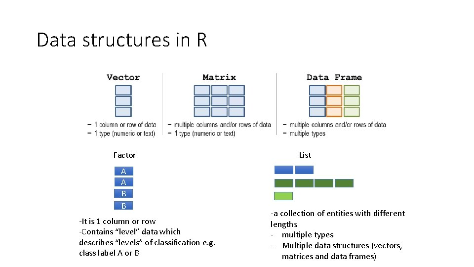 Data structures in R Factor A A B B -It is 1 column or