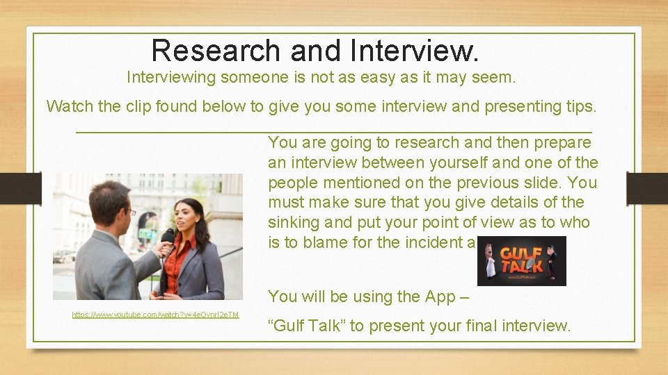 Research and Interviewing someone is not as easy as it may seem. Watch the