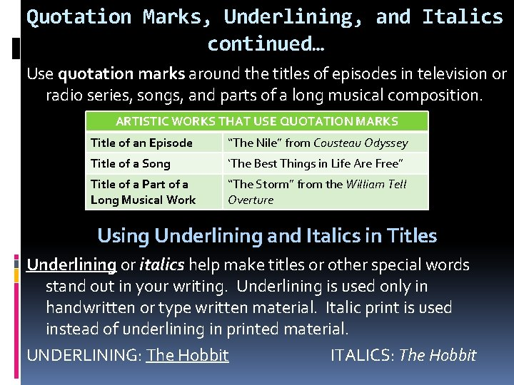 Quotation Marks, Underlining, and Italics continued… Use quotation marks around the titles of episodes