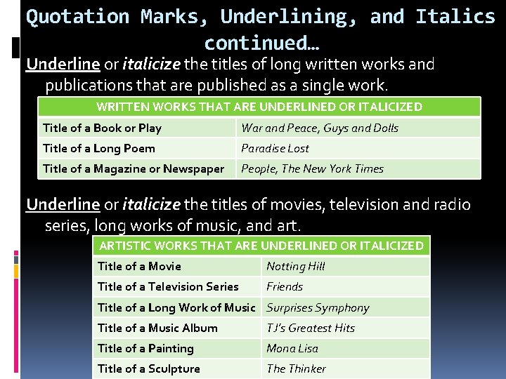 Quotation Marks, Underlining, and Italics continued… Underline or italicize the titles of long written