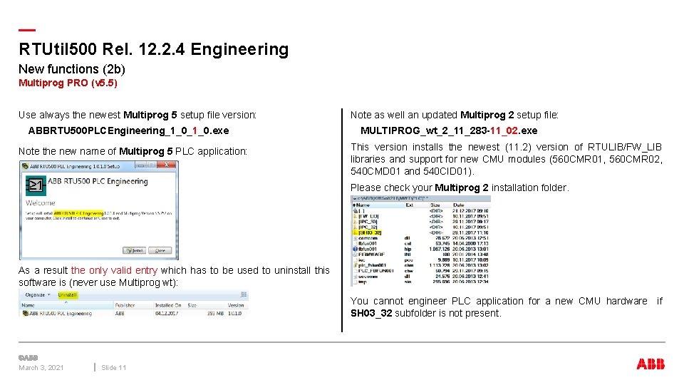 — RTUtil 500 Rel. 12. 2. 4 Engineering New functions (2 b) Multiprog PRO