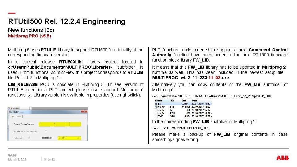 — RTUtil 500 Rel. 12. 2. 4 Engineering New functions (2 c) Multiprog PRO