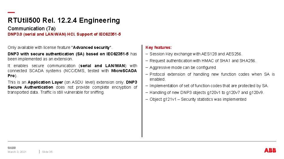 — RTUtil 500 Rel. 12. 2. 4 Engineering Communication (7 a) DNP 3. 0