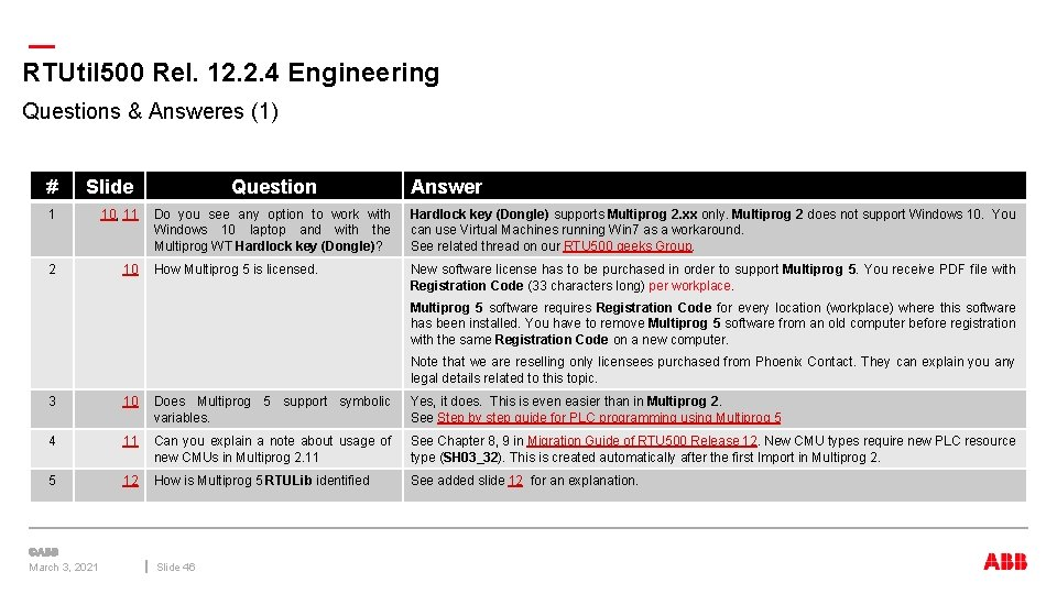 — RTUtil 500 Rel. 12. 2. 4 Engineering Questions & Answeres (1) # Slide