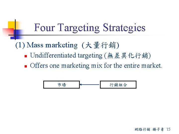 Four Targeting Strategies (1) Mass marketing (大量行銷) n n Undifferentiated targeting (無差異化行銷) Offers one