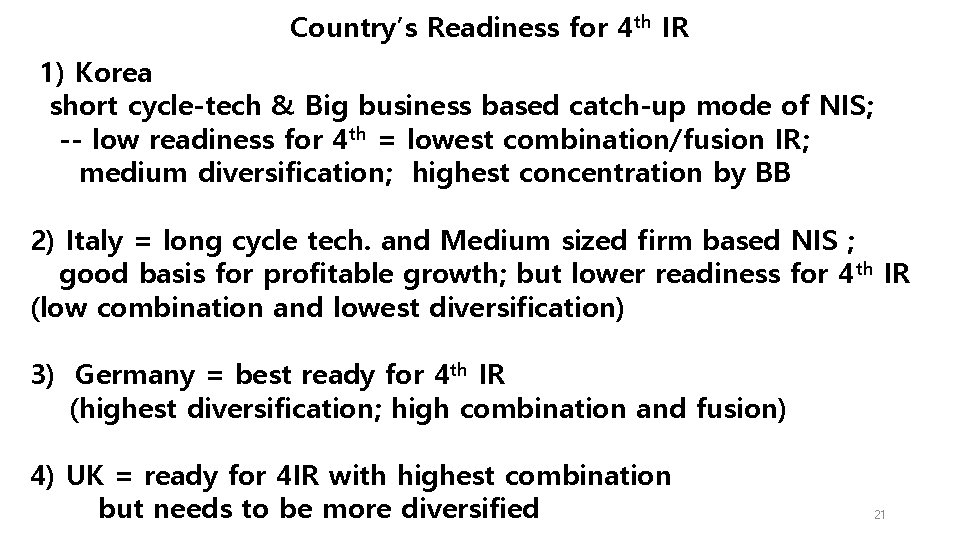 Country's Readiness for 4 th IR 1) Korea short cycle-tech & Big business based