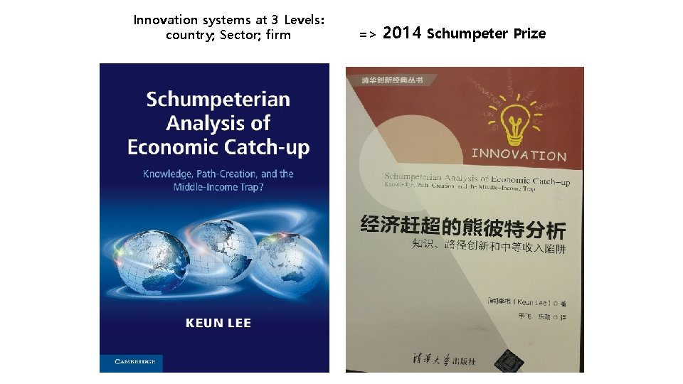 Innovation systems at 3 Levels: country; Sector; firm => 2014 Schumpeter Prize