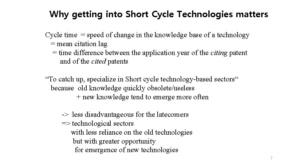 Why getting into Short Cycle Technologies matters Cycle time = speed of change in