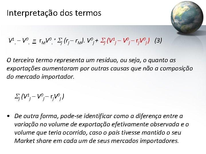 Interpretação dos termos V 1. – V 0. = r. MV 0. + Sj