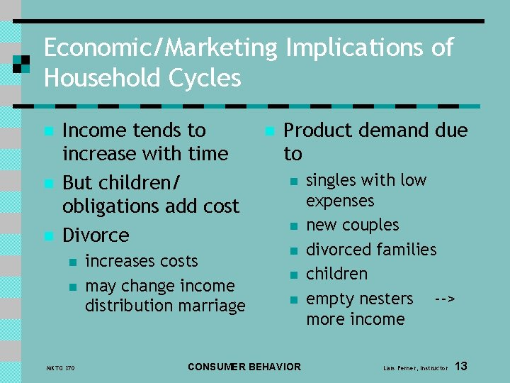 Economic/Marketing Implications of Household Cycles n n n Income tends to increase with time