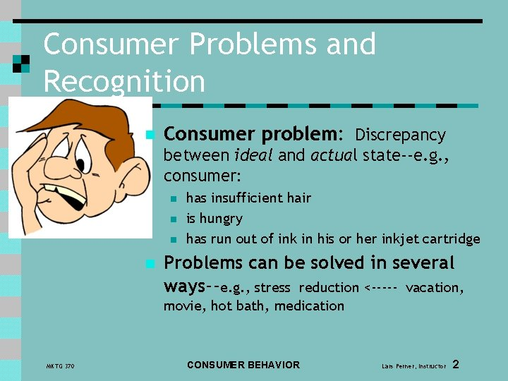 Consumer Problems and Recognition n Consumer problem: Discrepancy between ideal and actual state--e. g.