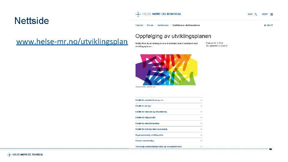 Nettside www. helse-mr. no/utviklingsplan