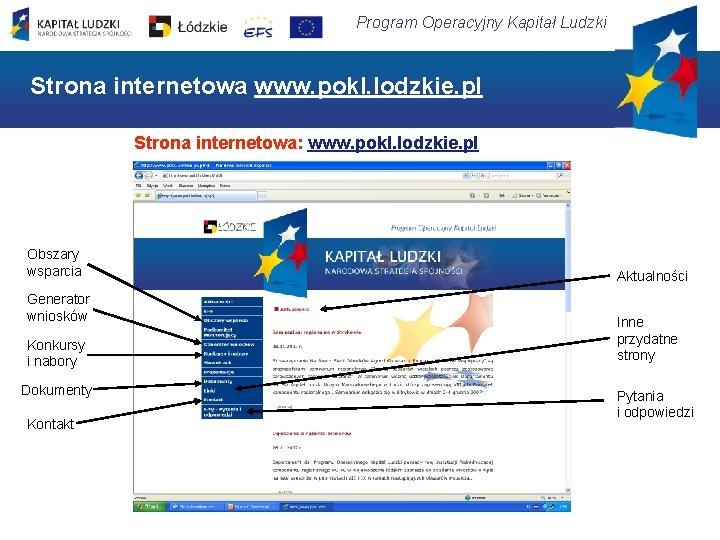Program Operacyjny Kapitał Ludzki Strona internetowa www. pokl. lodzkie. pl Strona internetowa: www. pokl.