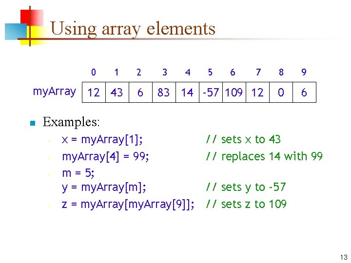 Using array elements 0 1 my. Array 12 43 n 2 6 3 4