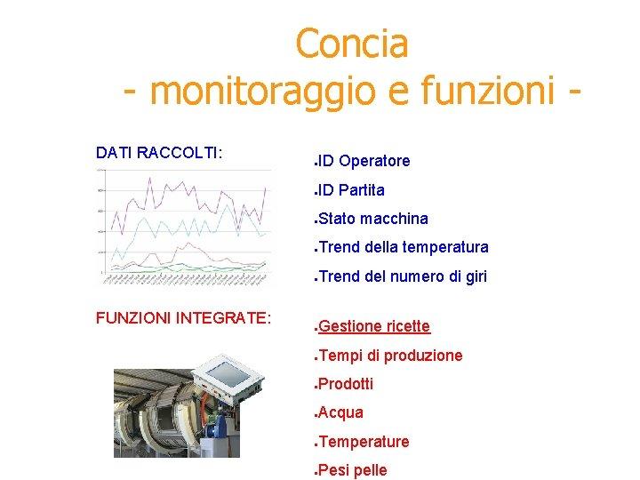 Concia - monitoraggio e funzioni DATI RACCOLTI: FUNZIONI INTEGRATE: ● ID Operatore ● ID