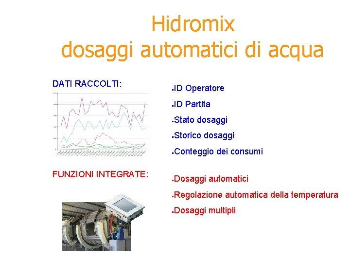 Hidromix dosaggi automatici di acqua DATI RACCOLTI: FUNZIONI INTEGRATE: ● ID Operatore ● ID