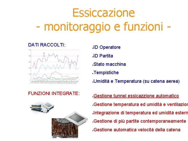 Essiccazione - monitoraggio e funzioni DATI RACCOLTI: FUNZIONI INTEGRATE: ● ID Operatore ● ID