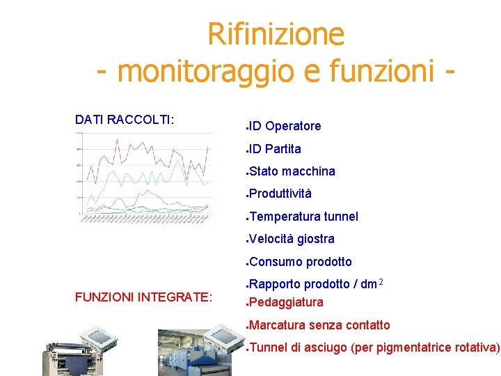 Rifinizione - monitoraggio e funzioni DATI RACCOLTI: ● ID Operatore ● ID Partita ●