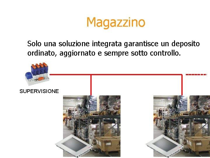 Magazzino Solo una soluzione integrata garantisce un deposito ordinato, aggiornato e sempre sotto controllo.