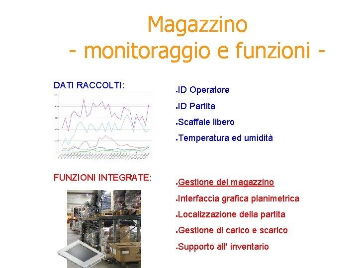 Magazzino - monitoraggio e funzioni DATI RACCOLTI: FUNZIONI INTEGRATE: ● ID Operatore ● ID
