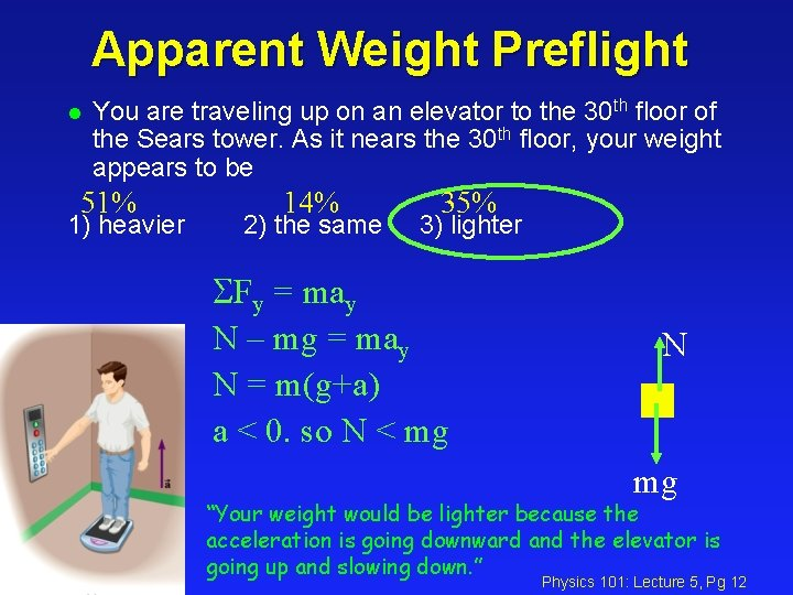 Apparent Weight Preflight l You are traveling up on an elevator to the 30