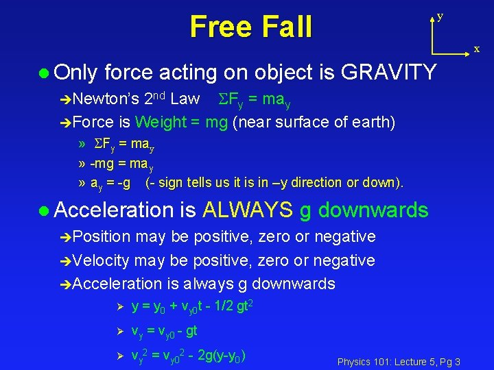 y Free Fall x l Only force acting on object is GRAVITY èNewton's 2