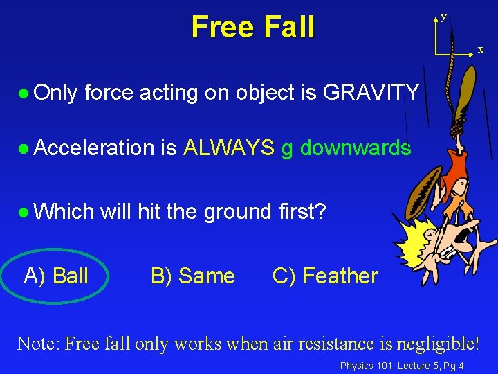 y Free Fall l Only x force acting on object is GRAVITY l Acceleration