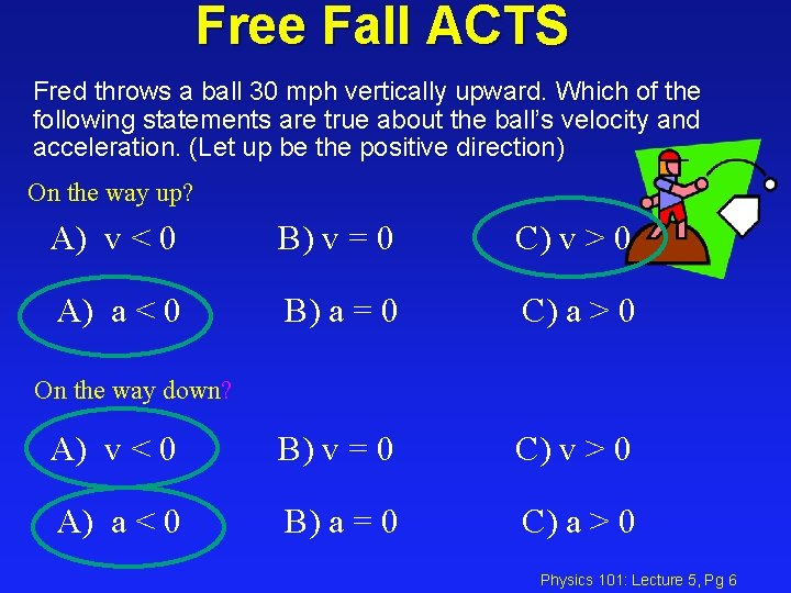 Free Fall ACTS Fred throws a ball 30 mph vertically upward. Which of the