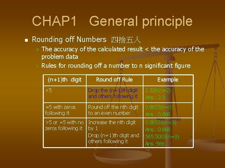 CHAP 1 General principle n Rounding off Numbers 四捨五入 n n The accuracy of