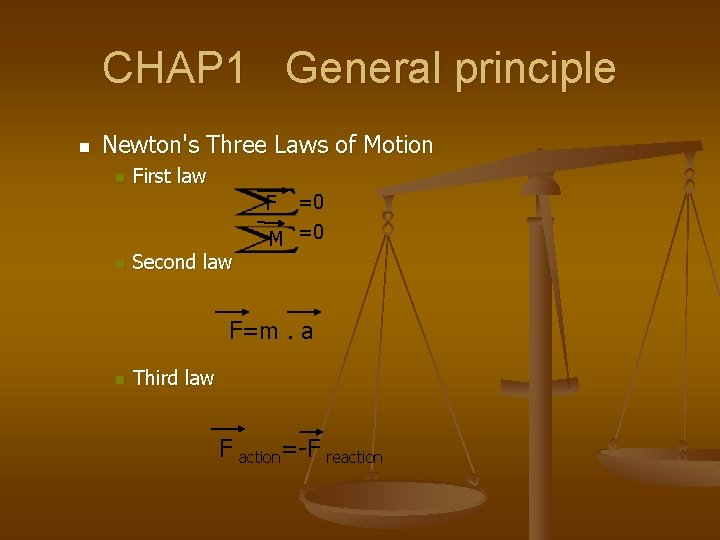 CHAP 1 General principle n Newton's Three Laws of Motion n First law F