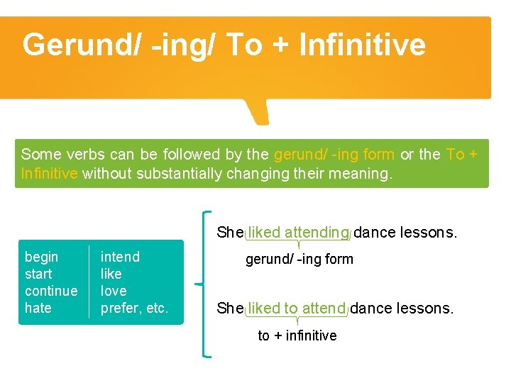Gerund/ -ing/ To + Infinitive Some verbs can be followed by the gerund/ -ing