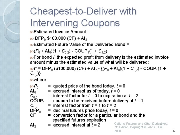 Cheapest to Deliver with Intervening Coupons Estimated Invoice Amount = DFP 0 $100, 000