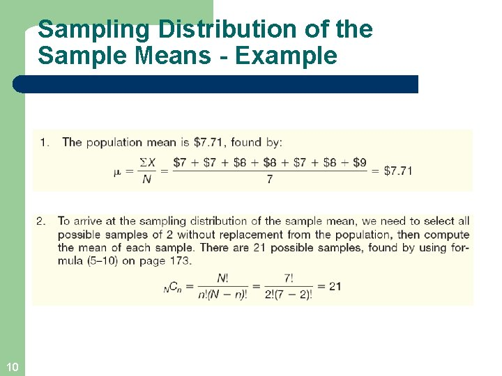 Sampling Distribution of the Sample Means - Example 10