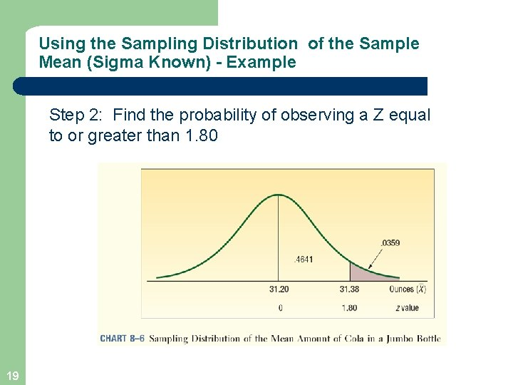 Using the Sampling Distribution of the Sample Mean (Sigma Known) - Example Step 2:
