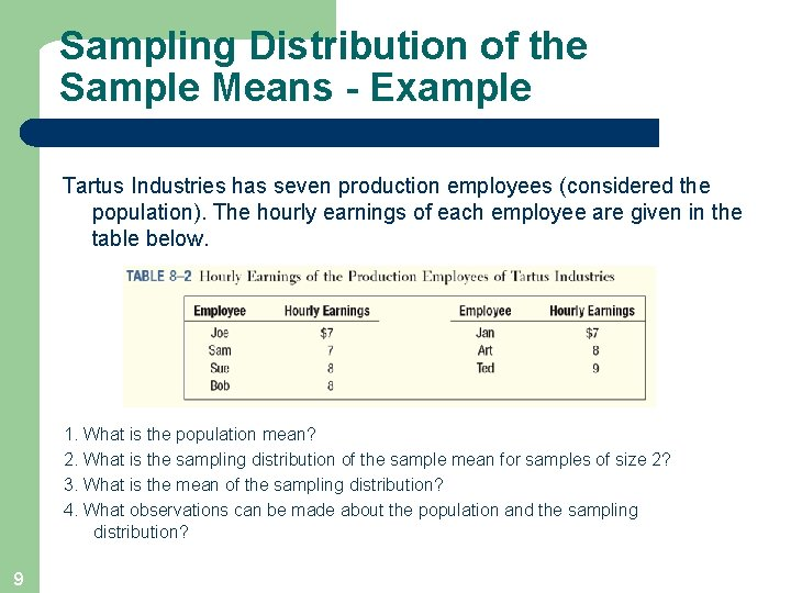 Sampling Distribution of the Sample Means - Example Tartus Industries has seven production employees