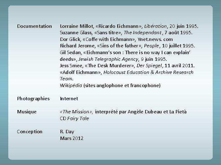 Documentation Lorraine Millot, «Ricardo Eichmann» , Libération, 20 juin 1995. Suzanne Glass, «Sans titre»