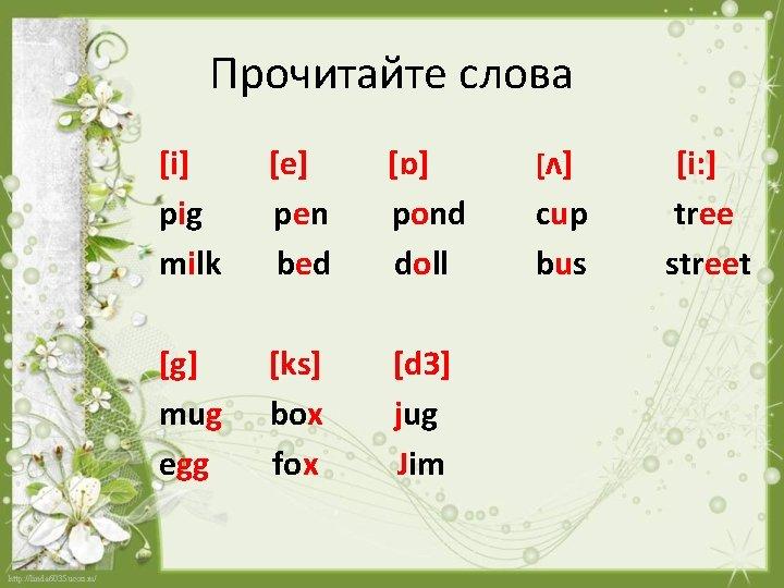 Прочитайте слова [i] pig milk [e] pen bed [ɒ] pond doll [g] mug egg