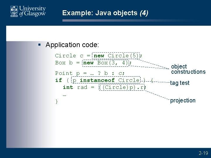 Example: Java objects (4) § Application code: Circle c = new Circle(5); Box b
