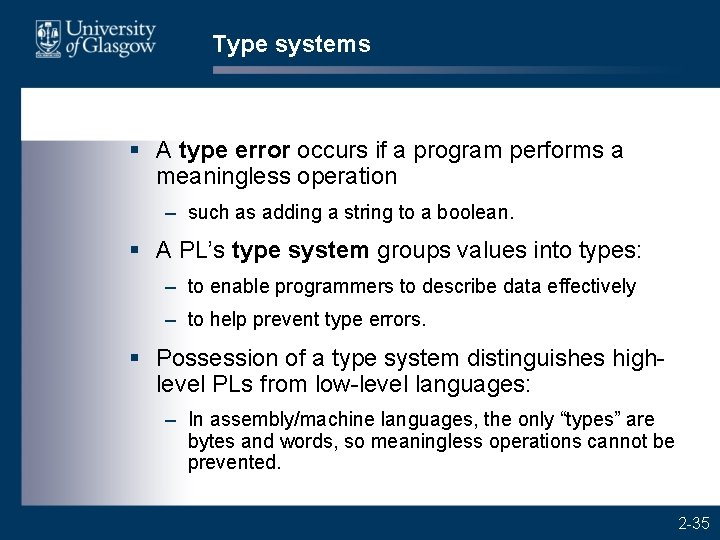 Type systems § A type error occurs if a program performs a meaningless operation