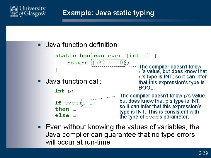 Example: Java static typing § Java function definition: static boolean even (int n) {