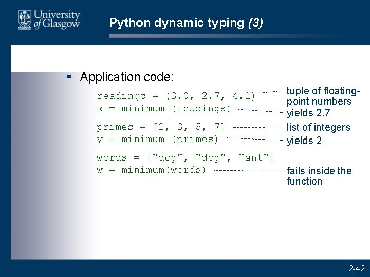 Python dynamic typing (3) § Application code: readings = (3. 0, 2. 7, 4.