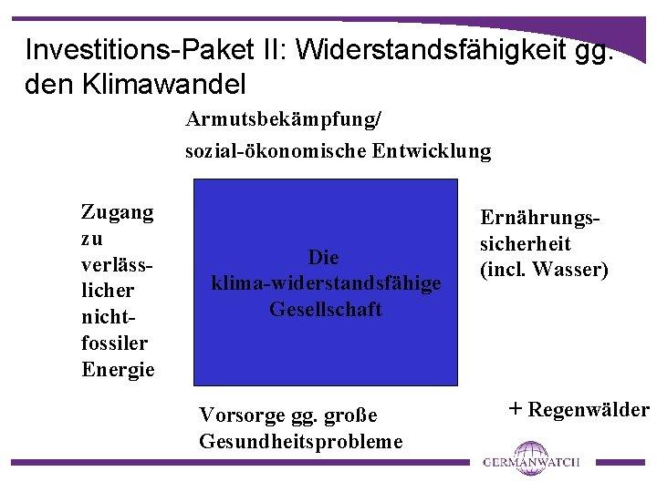 Investitions-Paket II: Widerstandsfähigkeit gg. den Klimawandel Armutsbekämpfung/ sozial-ökonomische Entwicklung Zugang zu verlässlicher nichtfossiler Energie