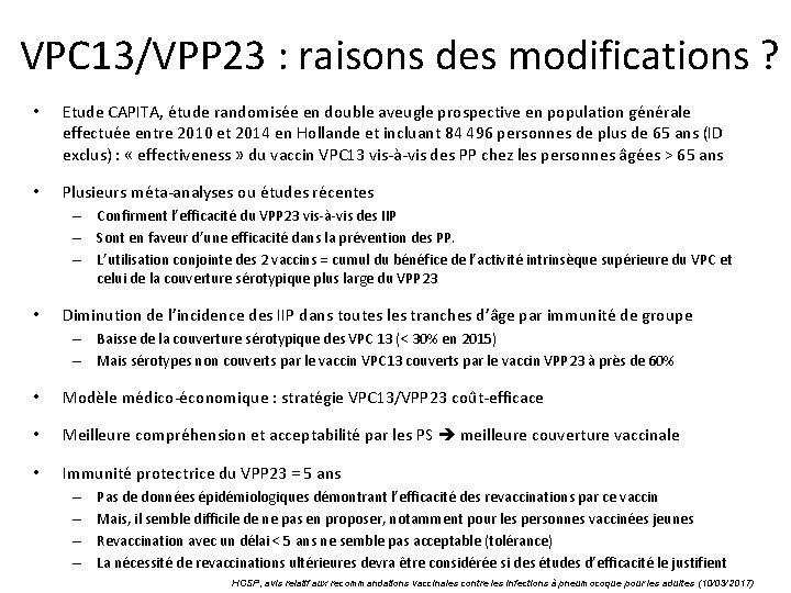 VPC 13/VPP 23 : raisons des modifications ? • Etude CAPITA, étude randomisée en