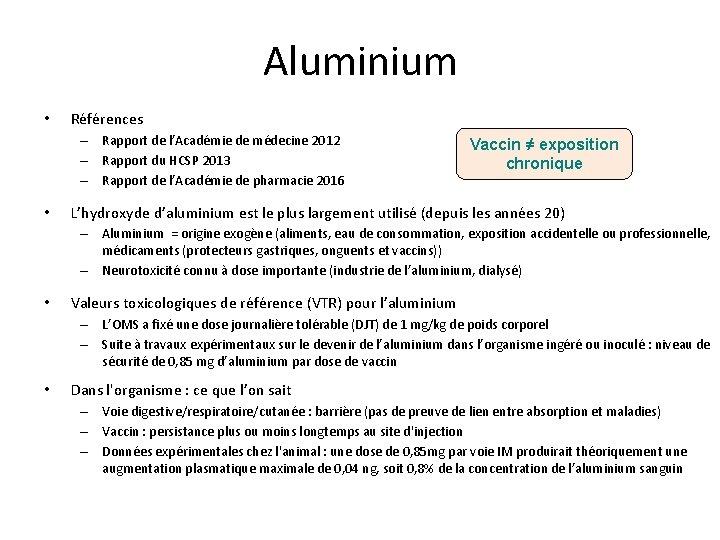 Aluminium • Références – Rapport de l'Académie de médecine 2012 – Rapport du HCSP