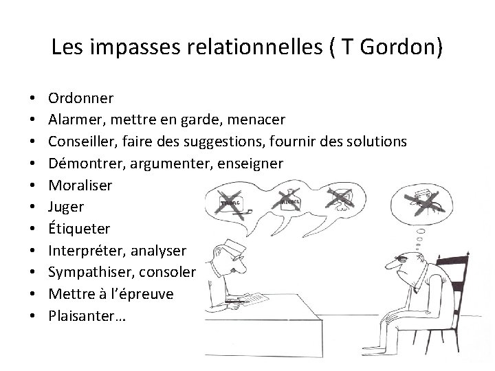 Les impasses relationnelles ( T Gordon) • • • Ordonner Alarmer, mettre en garde,
