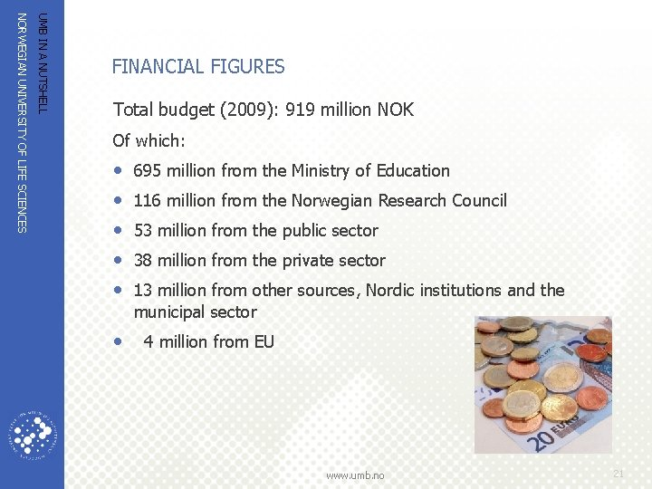 UMB IN A NUTSHELL NORWEGIAN UNIVERSITY OF LIFE SCIENCES FINANCIAL FIGURES Total budget (2009):