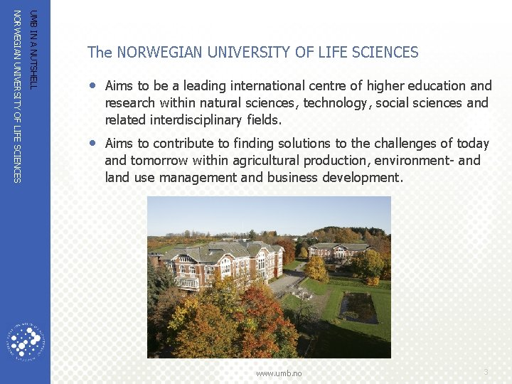 UMB IN A NUTSHELL NORWEGIAN UNIVERSITY OF LIFE SCIENCES The NORWEGIAN UNIVERSITY OF LIFE